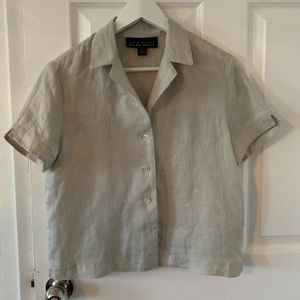 Ellen Tracy Short Sleeve Boxy Cropped Linen Shirt